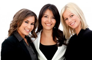 Business women smiling